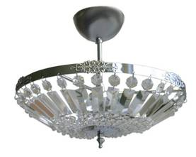 Virvatuli Classik plafondi 3 x E14 lasiprismoilla kromi - Plafondit - 30103095 - 1
