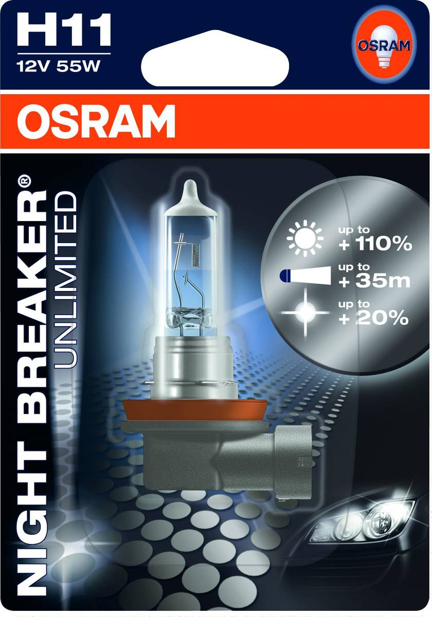 h11 osram night breaker unlimited 110 55w 12v erikoistekniikka verkkokauppa. Black Bedroom Furniture Sets. Home Design Ideas